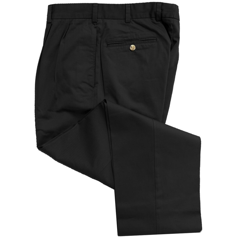 Travelers Twill Pant - Model F2P Standard Fit Reverse Pleat in Black (Sizes 38 and 42 Only) by Hansen's Khakis
