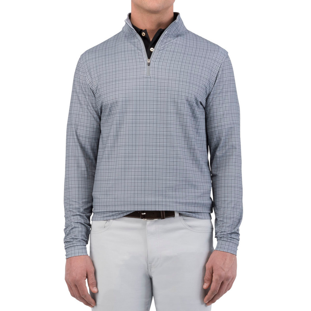 'Perth' Stretch Glen Plaid Loop Terry Quarter-Zip Performance Pullover in Smoke by Peter Millar