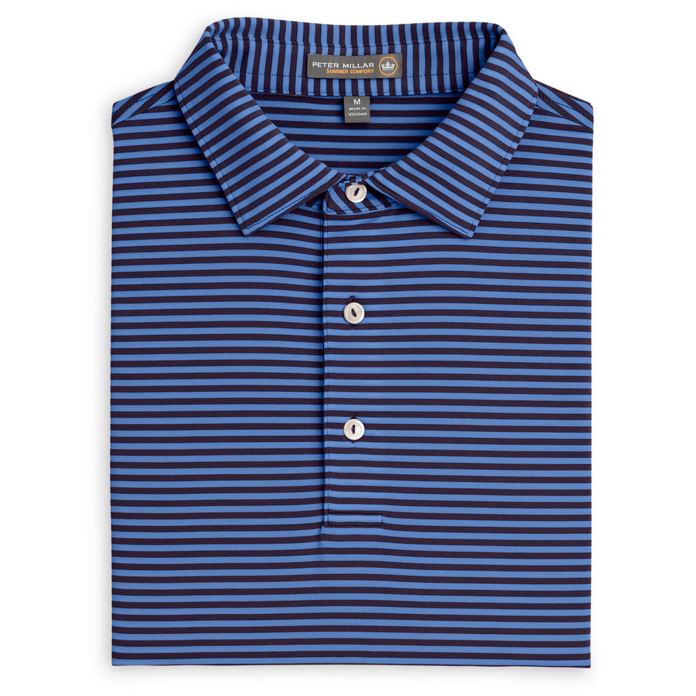 Competition Stripe Stretch Jersey 'Crown Sport' Performance Polo with Sean Self Collar in Blackberry (Size Medium) by Peter Millar