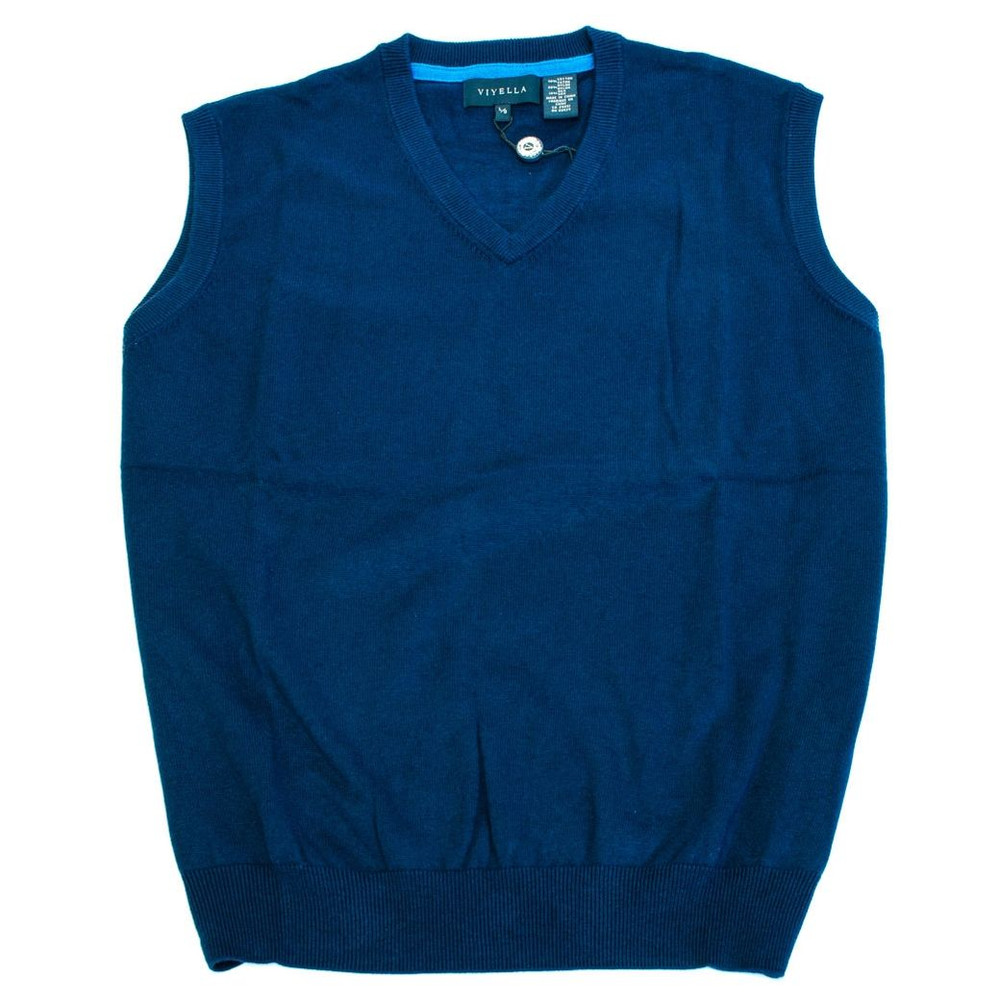 06a16f3122 Cotton and Silk V-Neck Sleeveless Sweater Vest in Navy by Viyella