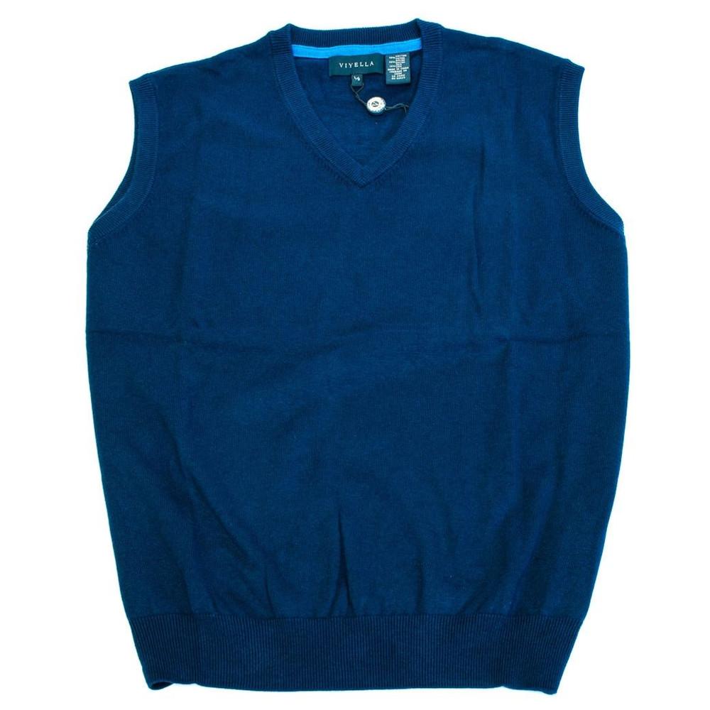 Cotton and Silk V-Neck Sleeveless Sweater Vest in Navy by Viyella