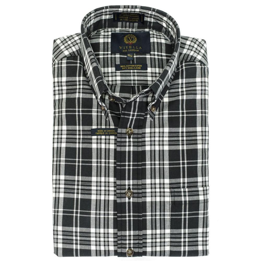 Black and White Plaid Button-Down Shirt by Viyella