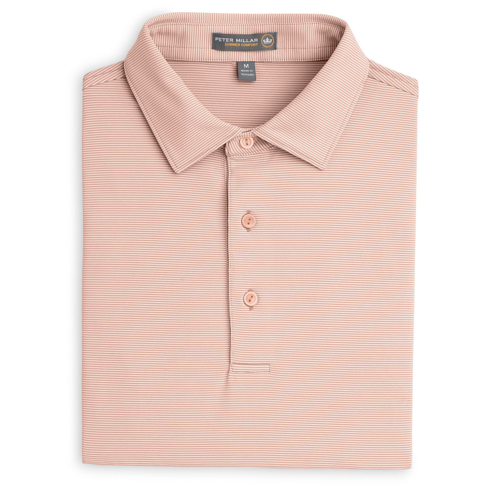 Jubilee Stripe Stretch Jersey 'Crown Sport' Performance Polo with Sean Self Collar in Calabash by Peter Millar(Medium Only)
