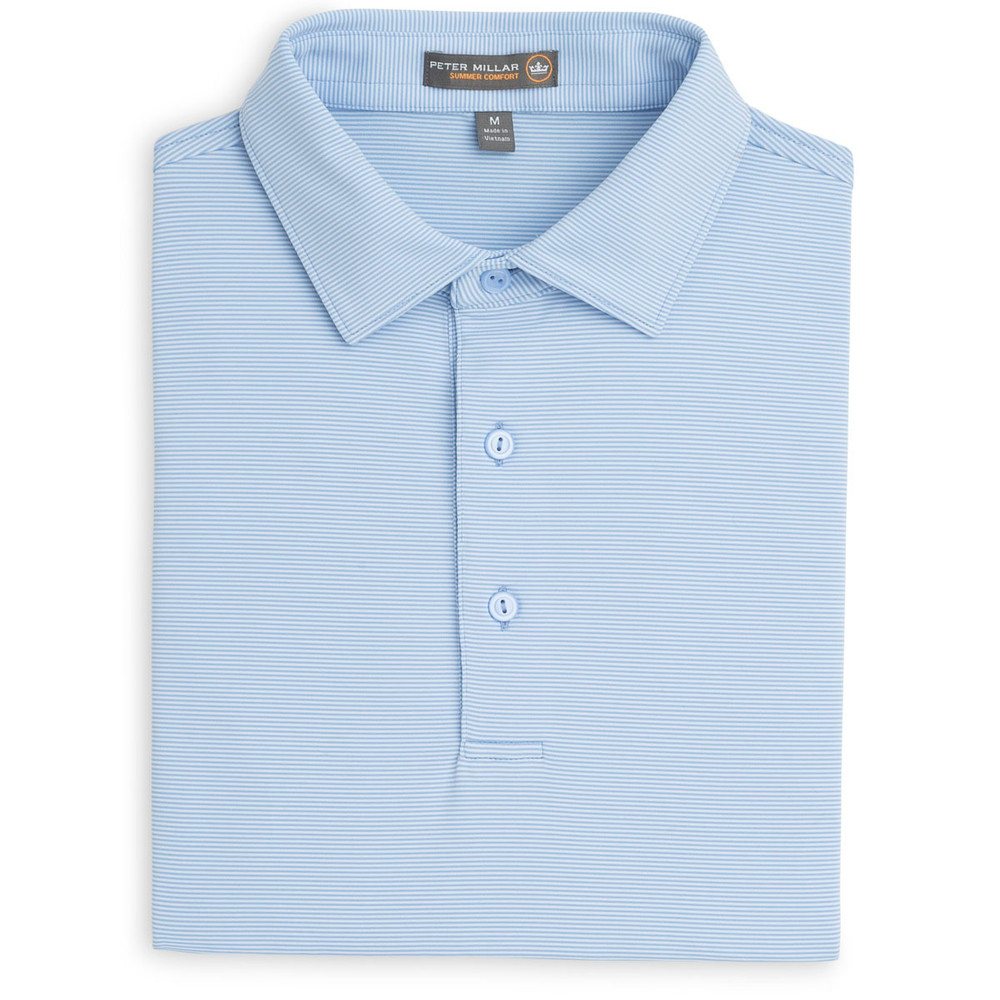 Jubilee Stripe Stretch Jersey 'Crown Sport' Performance Polo with Sean Self Collar in Cottage Blue by Peter Millar