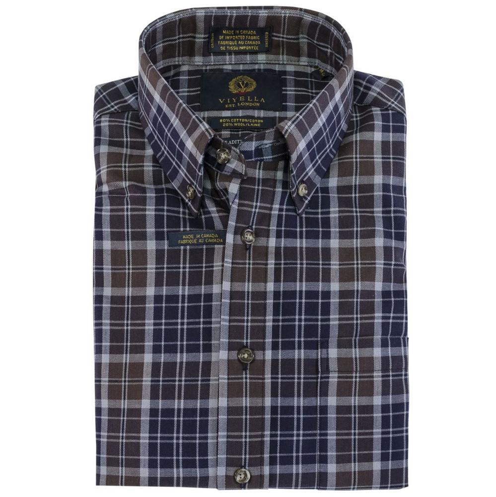 Navy and Brown Plaid Plaid Button-Down Shirt by Viyella