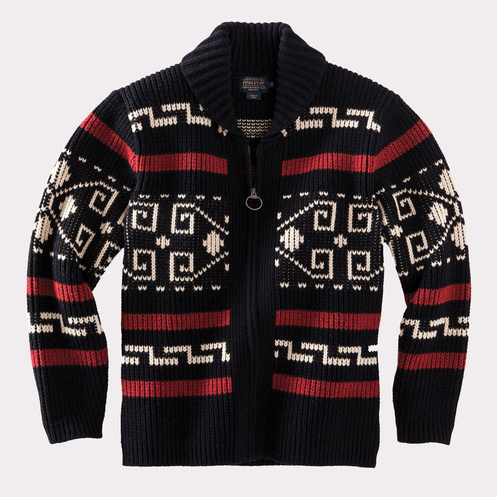 The Original Westerley Cardigan Sweater in Black and Cream (Size Large) by Pendleton