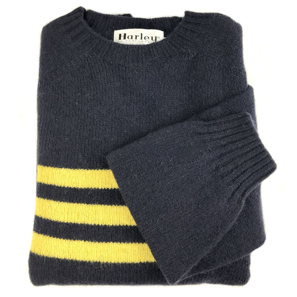 Shetland Saddle Shoulder Crew Neck Sweater with Stripe in Navy and Gorseflower by Harley of Scotland
