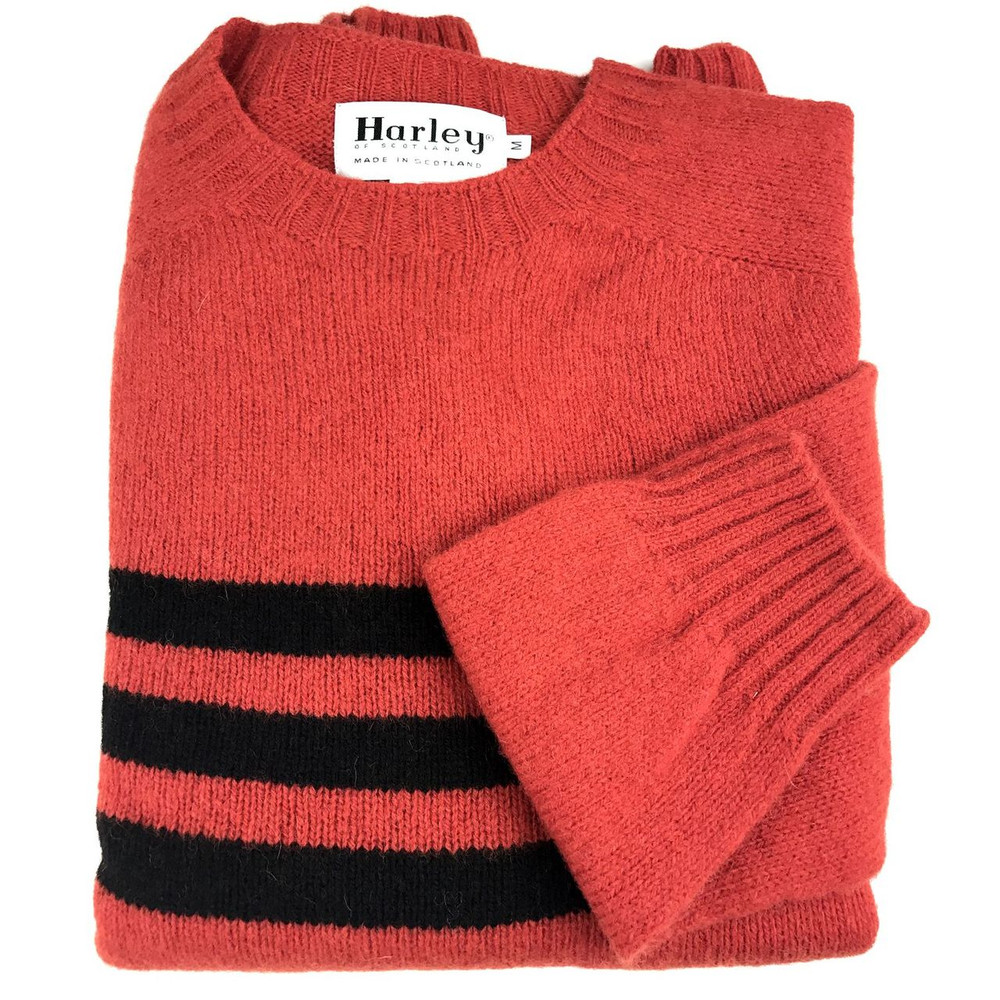 Shetland Saddle Shoulder Crew Neck Sweater with Stripe in Scarlet and Black by Harley of Scotland