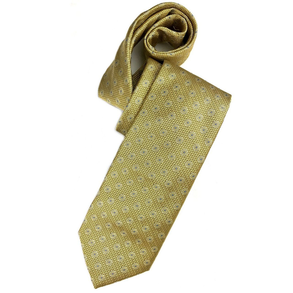 Fall 2017 Gold and Blue Herringbone Neat 'Ambassador' Silk Estate Tie by Robert Talbott