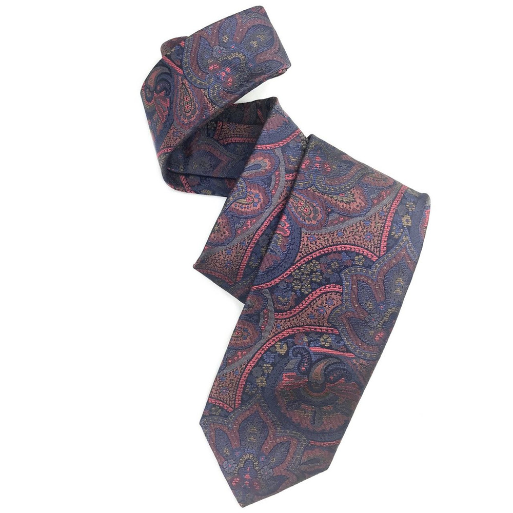 Best of Class Blue and Salmon Paisley 'Heritage' Woven Silk Tie by Robert Talbott