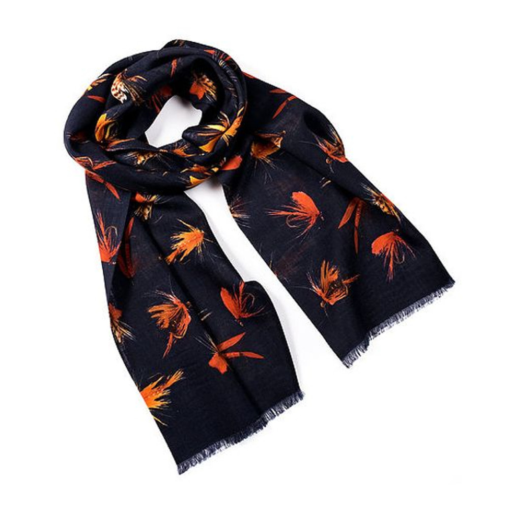 Yorkshire Fishing Fly Wool and Silk Scarf in Navy by Trumbull Rhodes