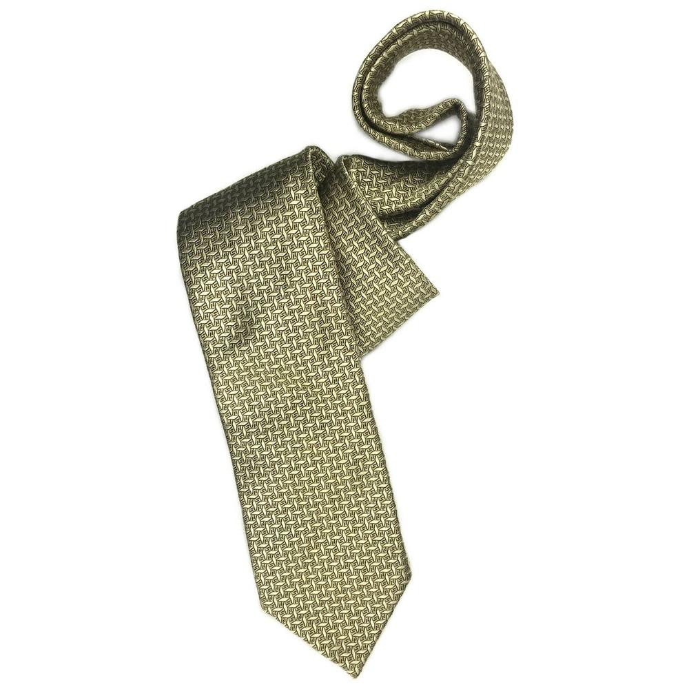 Gold, Black, and Blue Geometric 'Sudbury' Seven Fold Woven Silk Tie by Robert Talbott