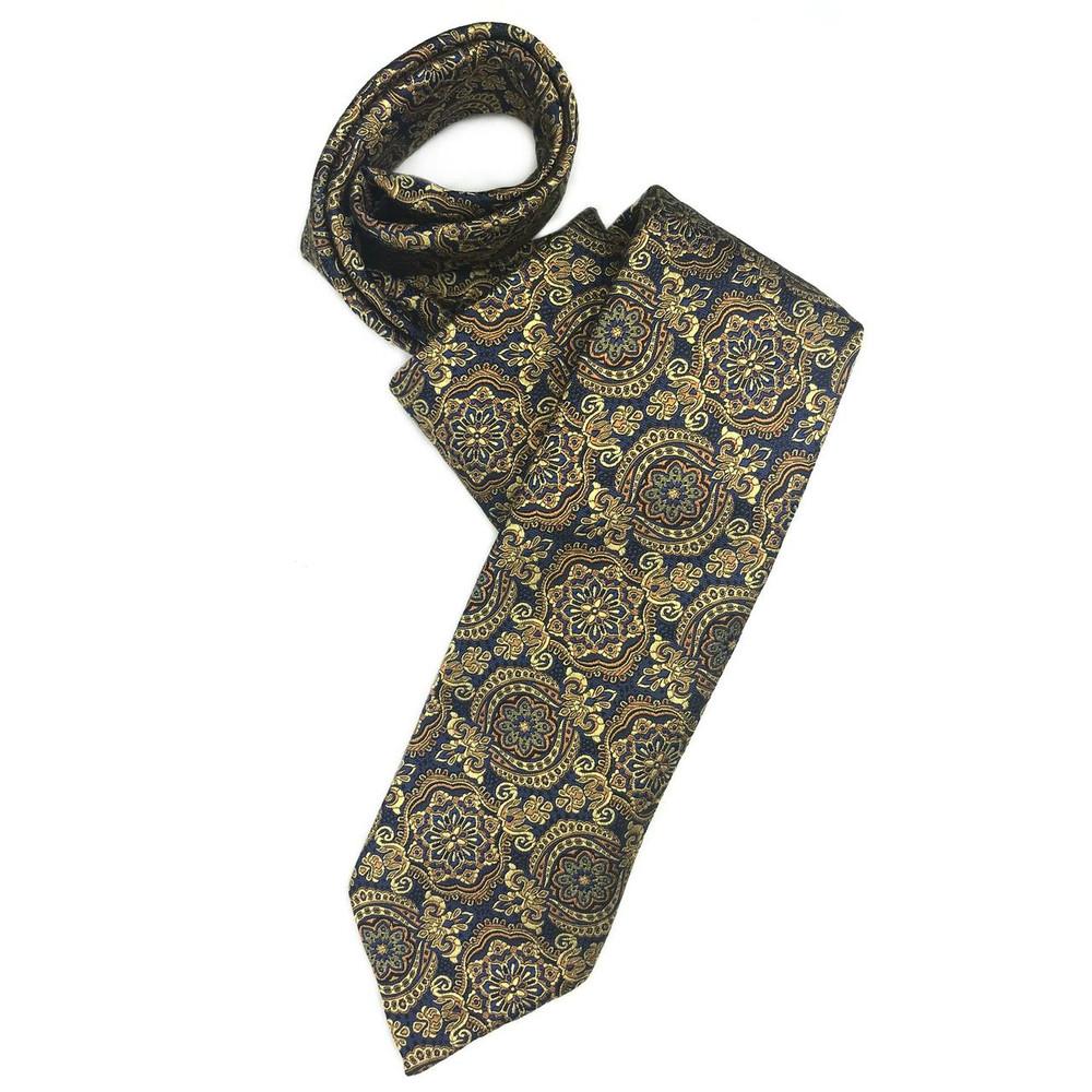 Navy and Gold Medallion 'Sudbury' Seven Fold Woven Silk Tie by Robert Talbott
