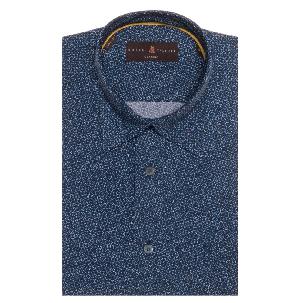 Navy and Blue Geometric 'Anderson II' Sport Shirt by Robert Talbott