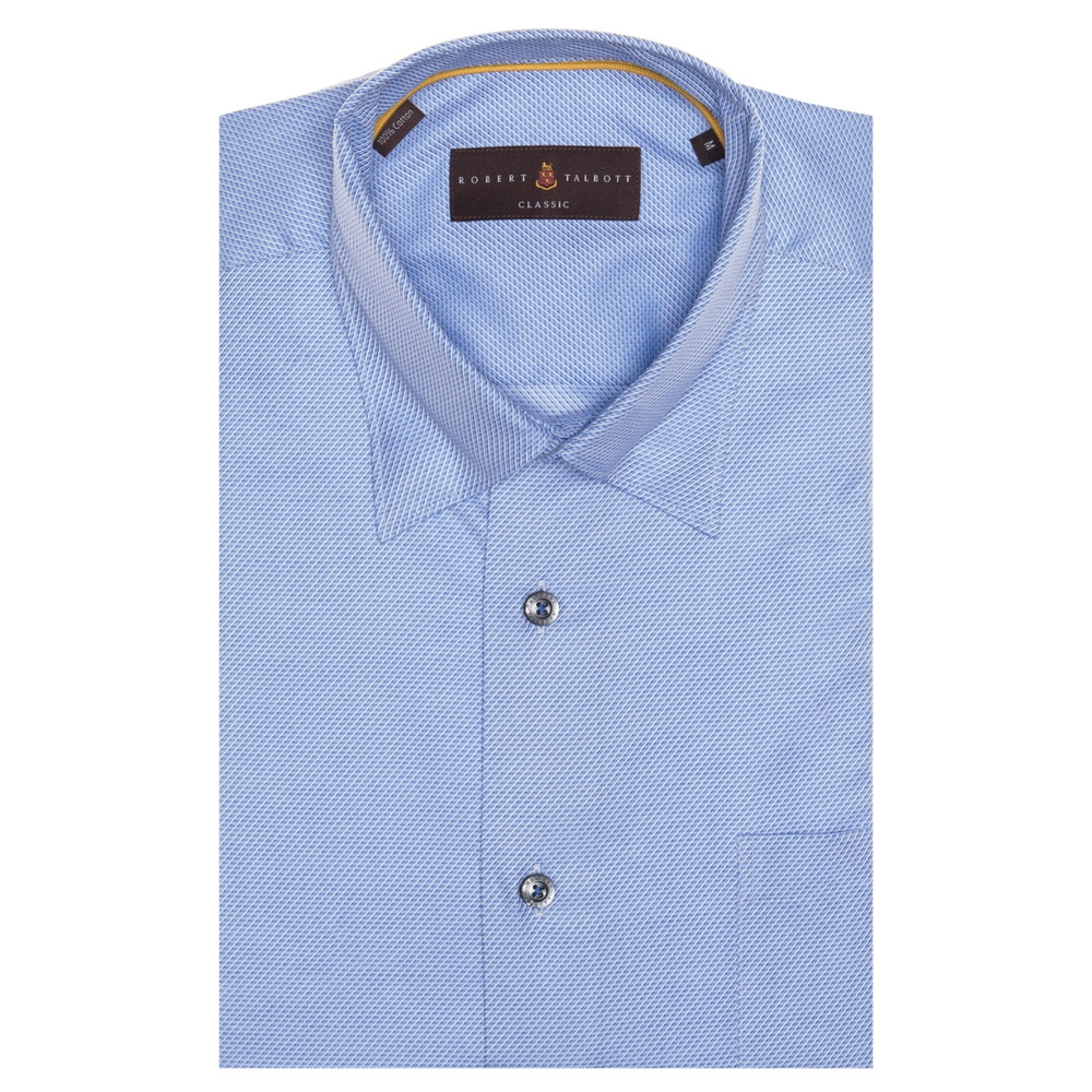 Blue and White Geometric Stripe 'Anderson II' Sport Shirt by Robert Talbott