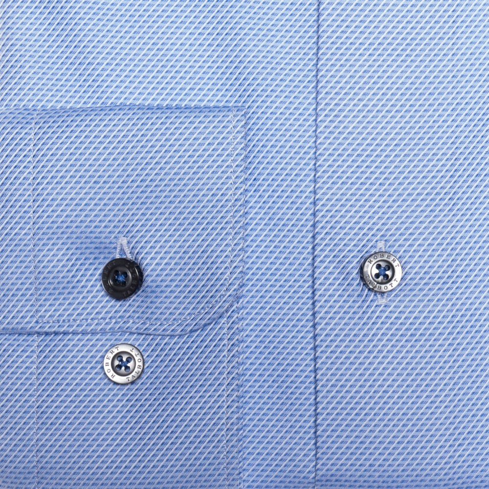 Blue and White Geometric Stripe 'Anderson II' Sport Shirt by Robert Talbott