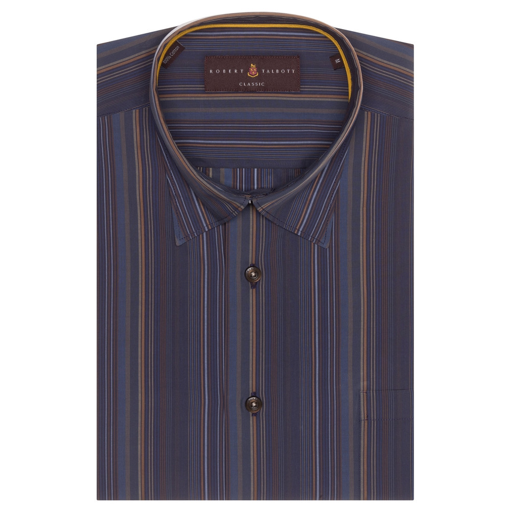 Navy and Brown Stripe 'Anderson II' Sport Shirt by Robert Talbott