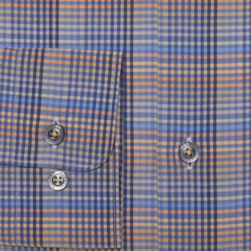 Blue, Sand, and Orange Plaid 'Anderson II' Sport Shirt by Robert Talbott