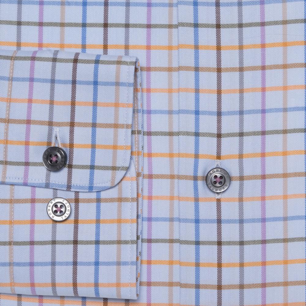Blue, Orange, and Lilac Plaid 'Anderson II' Sport Shirt by Robert Talbott