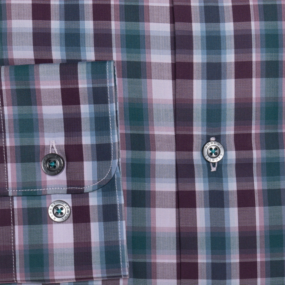 Plum, Blue, and Lilac Plaid 'Anderson II' Sport Shirt by Robert Talbott