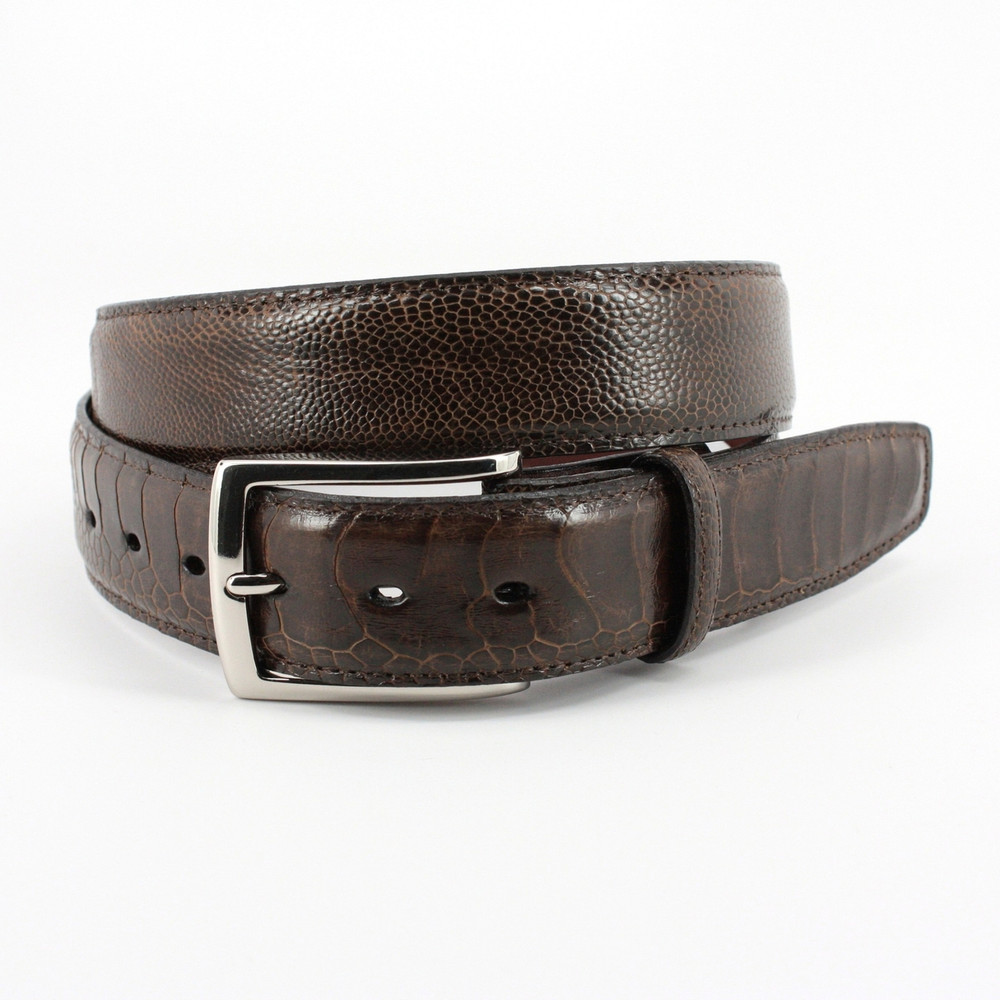 Genuine South African Ostrich Leg Belt in Brown by Torino Leather Co.
