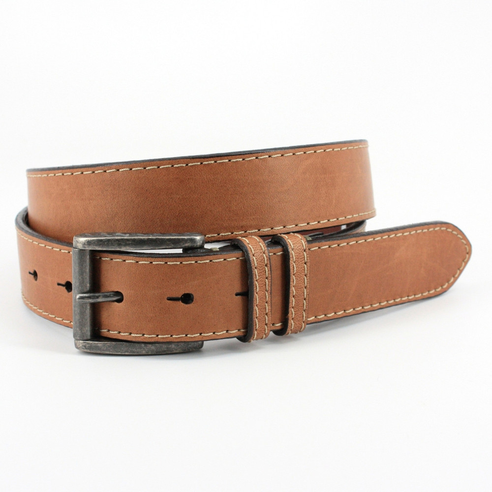 Genuine Waxed Horsehide Leather Belt in Tan by Torino Leather Co.