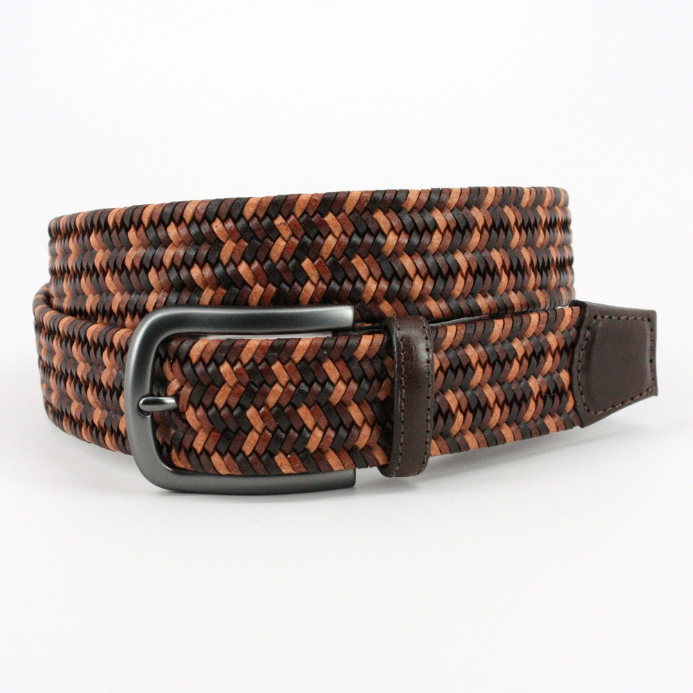 Italian Mini Strand Woven Stretch Leather Belt in Brown Multi by Torino Leather Co.