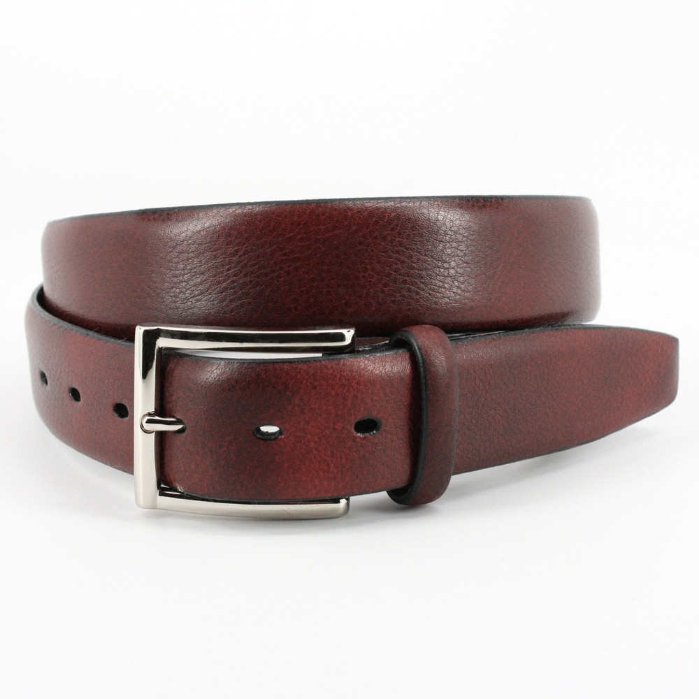 Italian Glazed Milled Calfskin Belt in Antiqued Black by Torino Leather Co.