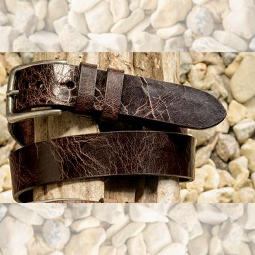Antiqued Polished Harness Leather Belt in Brown by Torino Leather Co.