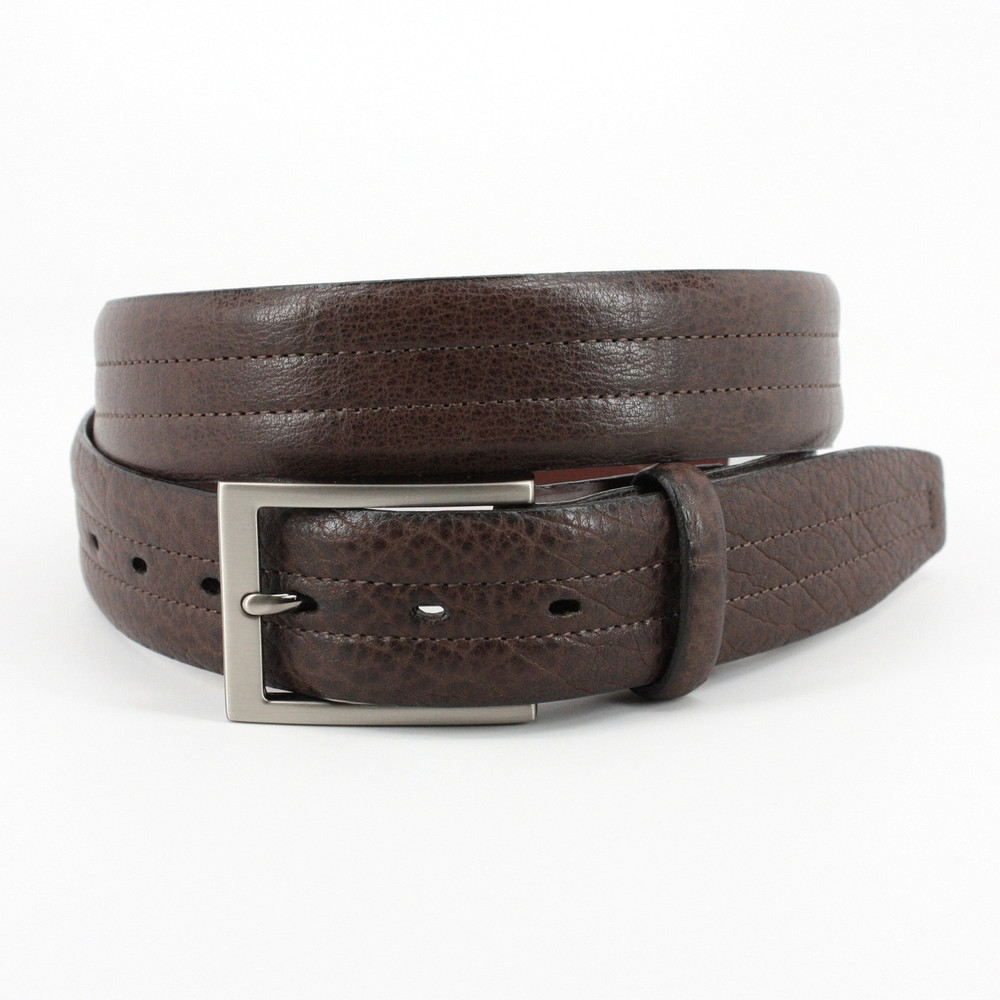 American Bison Center Stitched Leather Belt in Brown by Torino Leather Co.