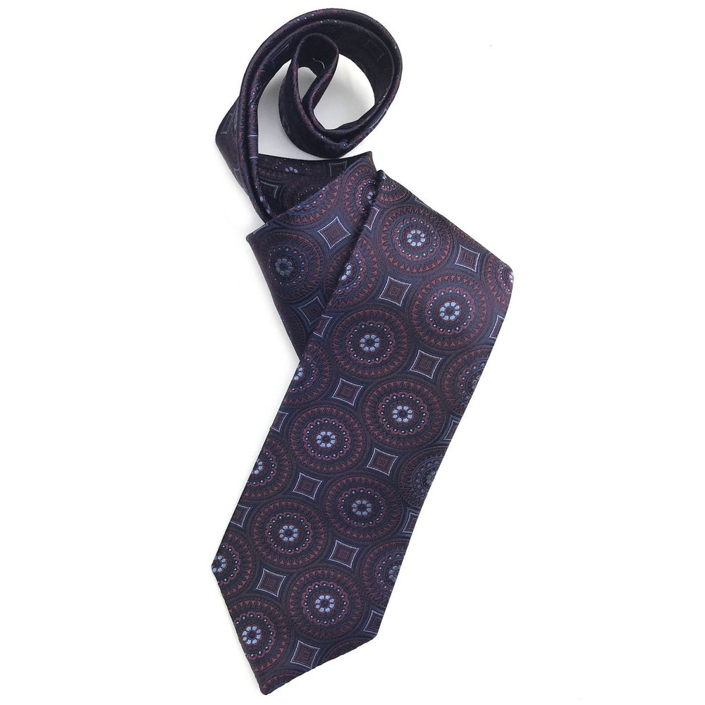 Navy, Burgundy, and Brown Geometric Woven Silk Tie by Robert Jensen