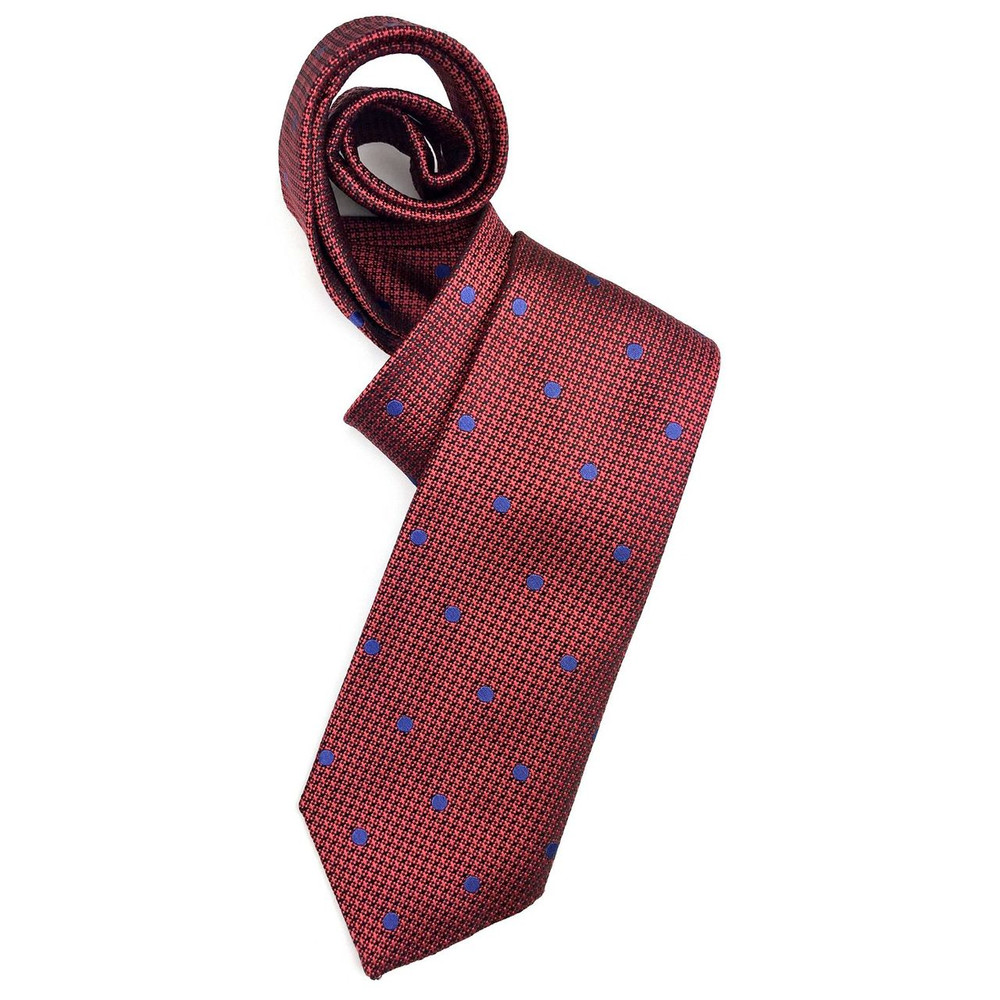 Red, Blue, and Black Geometric Dot Woven Silk Tie by Robert Jensen