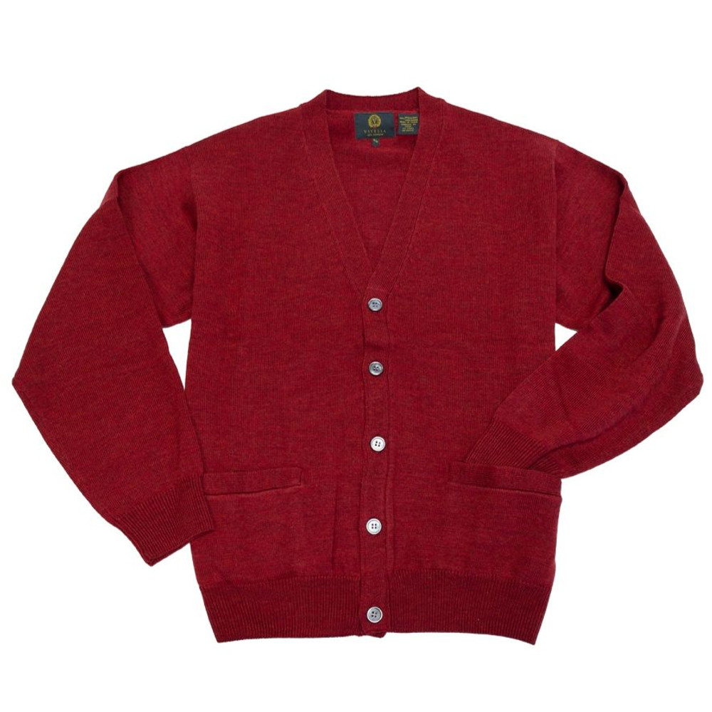 d32aaab892 Merino Wool Button-Front V-Neck Cardigan Sweater in Admiral Red by Viyella