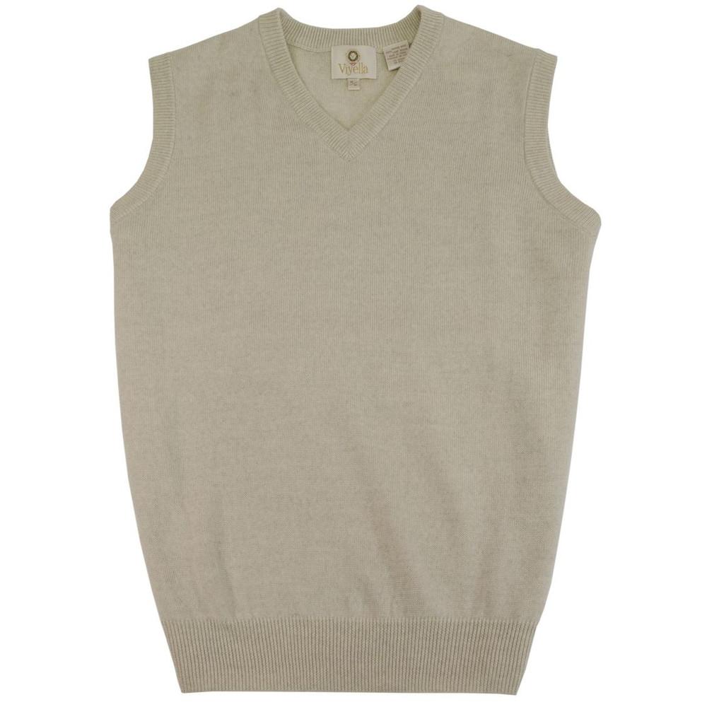 Merino Wool V-Neck Sleeveless Sweater in Beige Melange by Viyella
