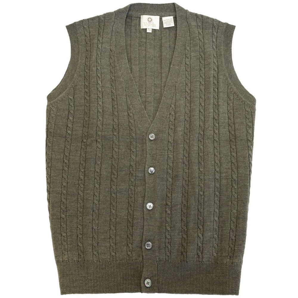 Merino Wool Cable Knit V-Neck Sweater Vest in Sage Melange by Viyella