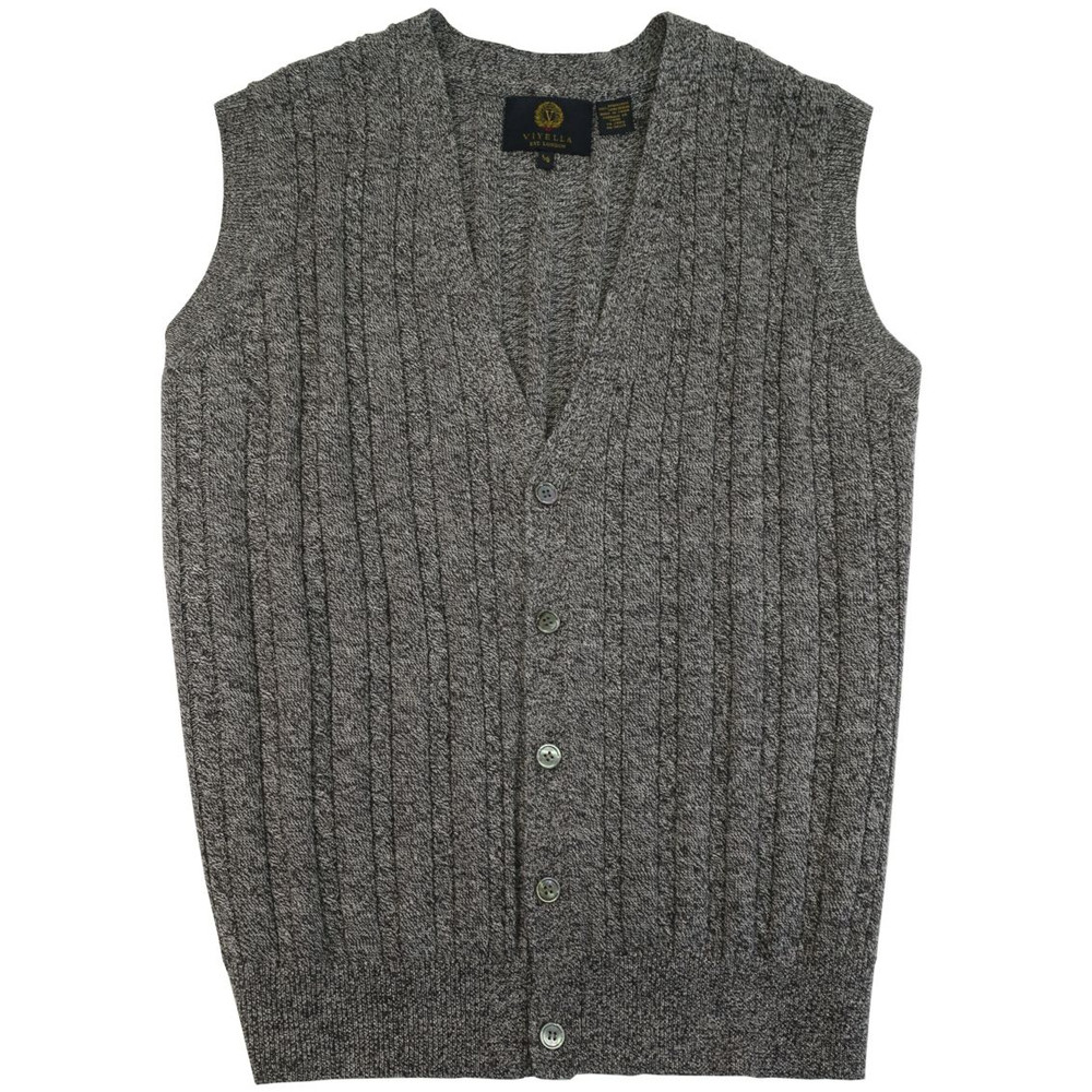Merino Wool Cable Knit V-Neck Sweater Vest in Mouline Heather by Viyella