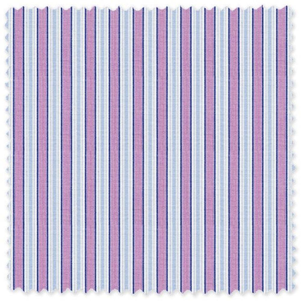 Blue and Purple Stripe 'Royal 120's' Cotton Broadcloth Custom Dress Shirt  by Skip Gambert
