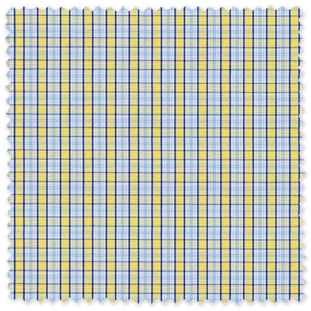 Blue and Yellow Plaid 'Royal 120's' Cotton Broadcloth Custom Dress Shirt  by Skip Gambert