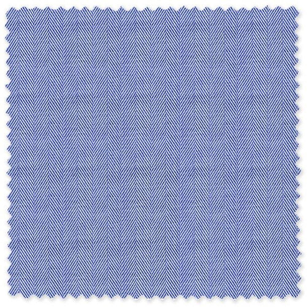 Blue 'Thomas Mason' 140's Cotton Herringbone Custom Dress Shirt by Skip Gambert
