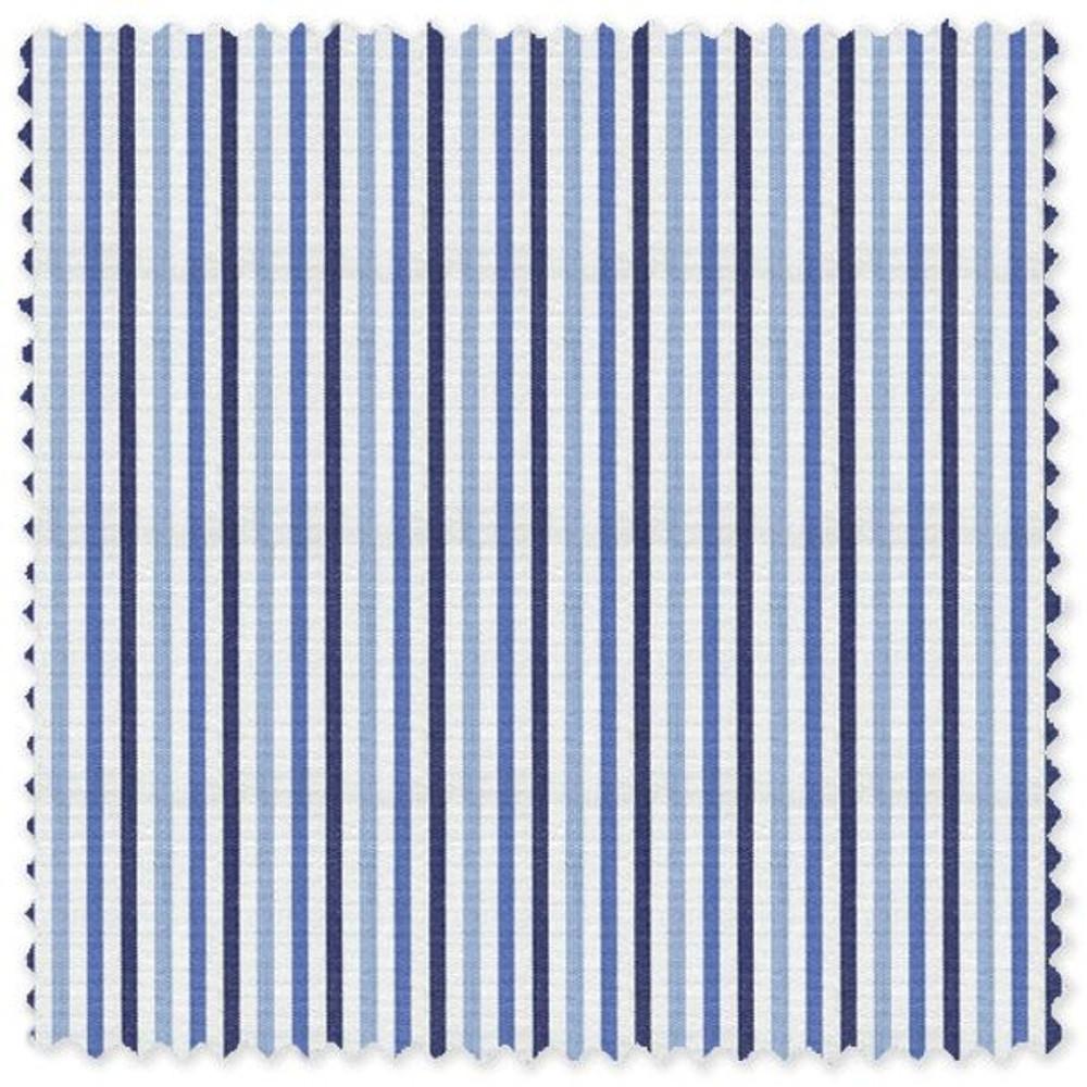 Blue, Navy, and Sky Stripe 'Grandi & Rubinelli' Cotton Broadcloth Custom Dress Shirt by Skip Gambert