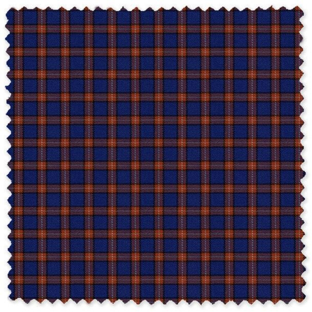 Blue and Orange Check Cotton Twill Custom Dress Shirt by Skip Gambert