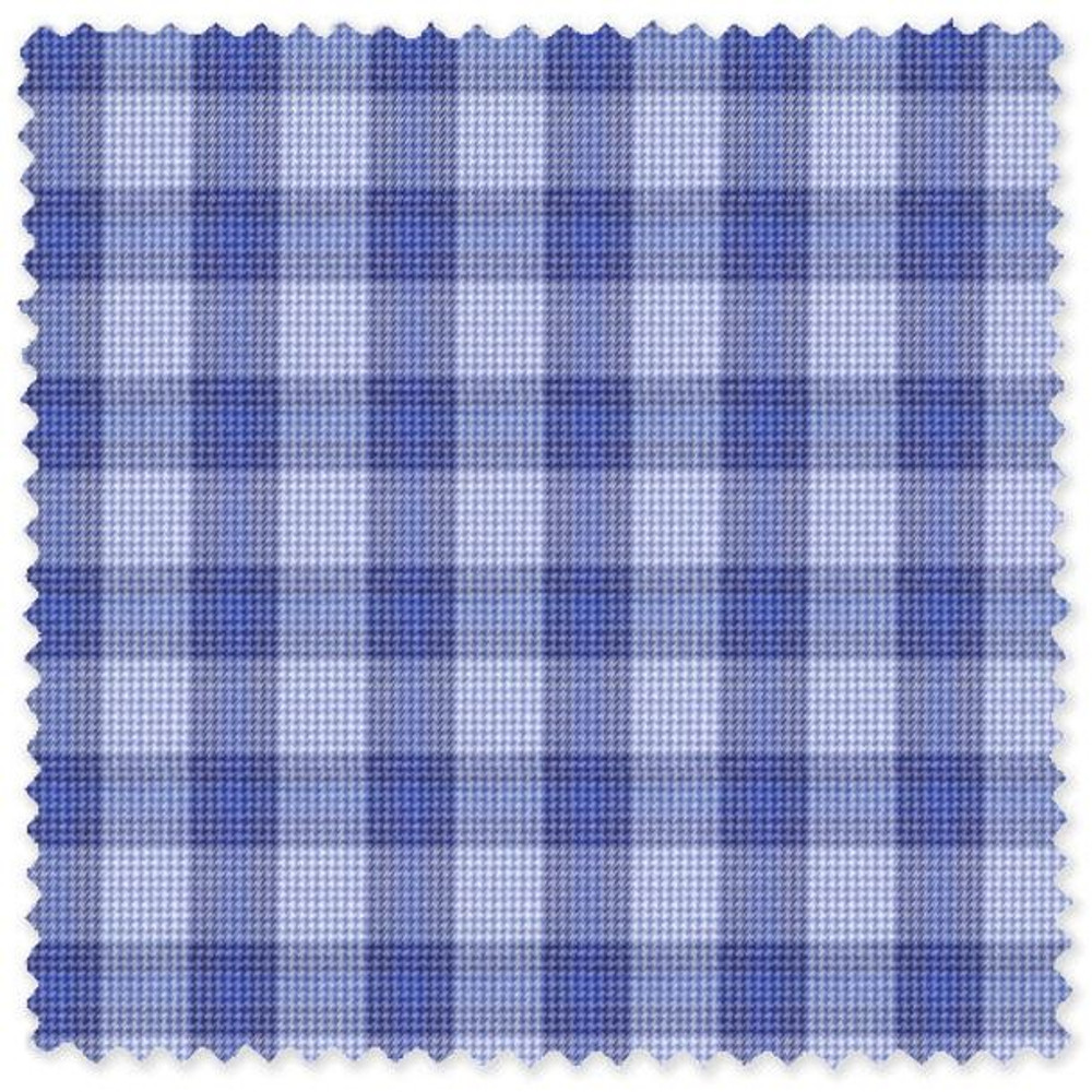 Multi Blue Check Cotton Twill Custom Dress Shirt by Skip Gambert