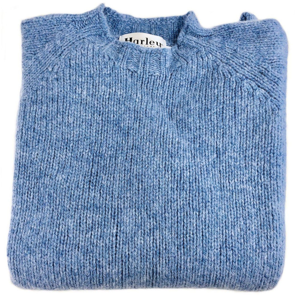 Shetland Saddle Shoulder Shaggy Knit Crew Neck Sweater in Ice Sea by Harley  of Scotland