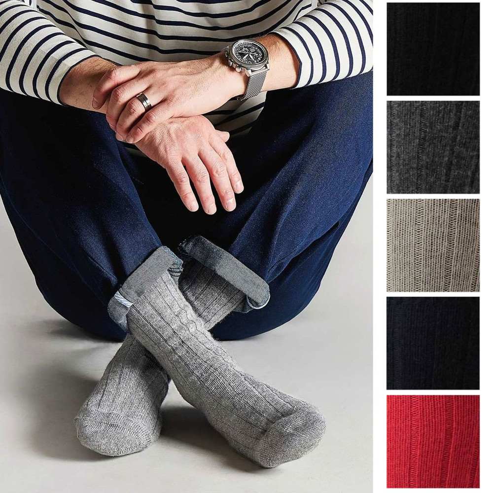 Waddington Cashmere 5x1 Rib Sock in Choice of Colors (Mid-Calf) by Pantherella