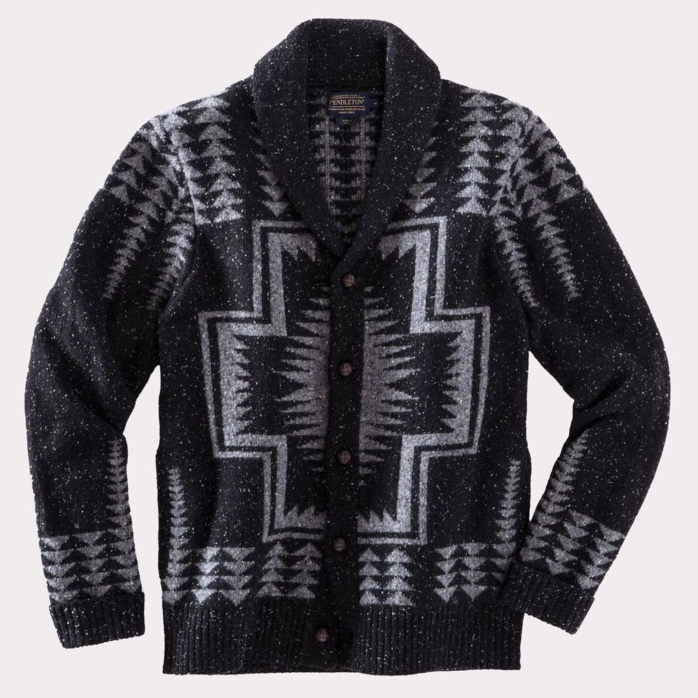 eca9a289f Harding Shawl-Collar Cardigan Sweater in Black and Grey by Pendleton ...