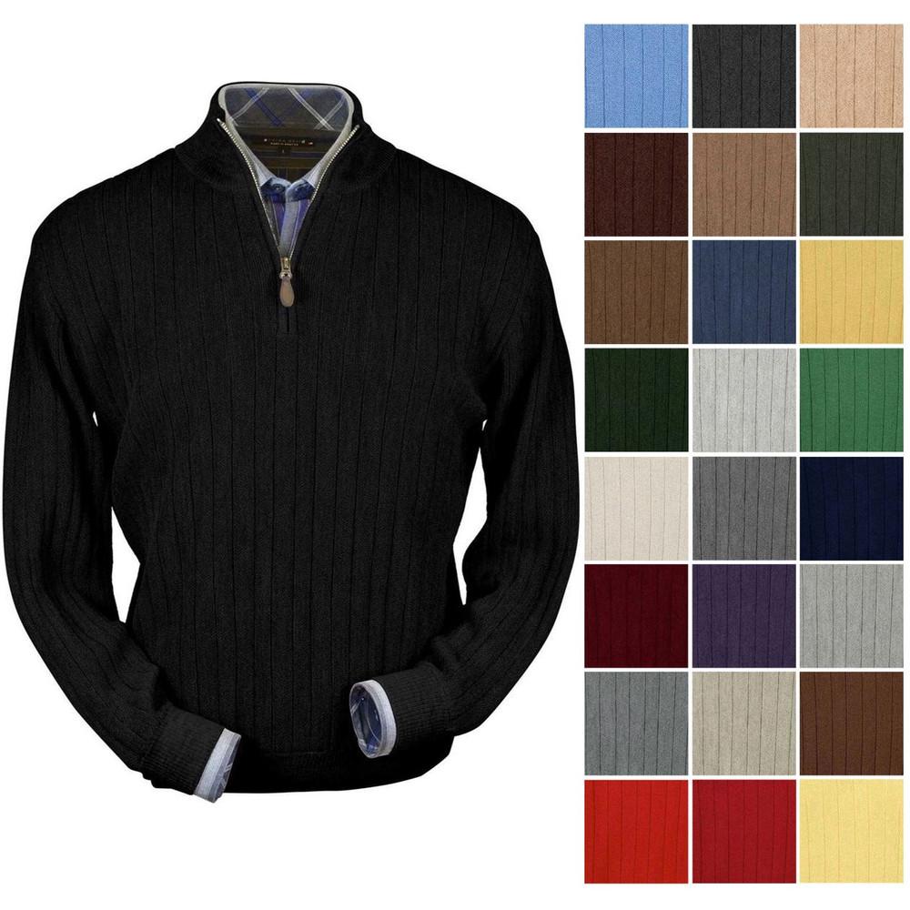 3188d6e52 Baby Alpaca Link Stitch Half-Zip Mock Neck Sweater in Choice of ...