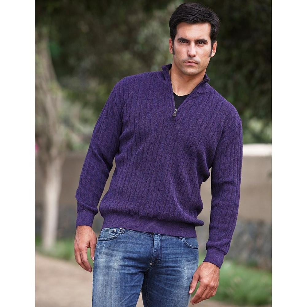 Baby Alpaca Link Stitch Half-Zip Mock Neck Sweater in Choice of Colors by Peru Unlimited