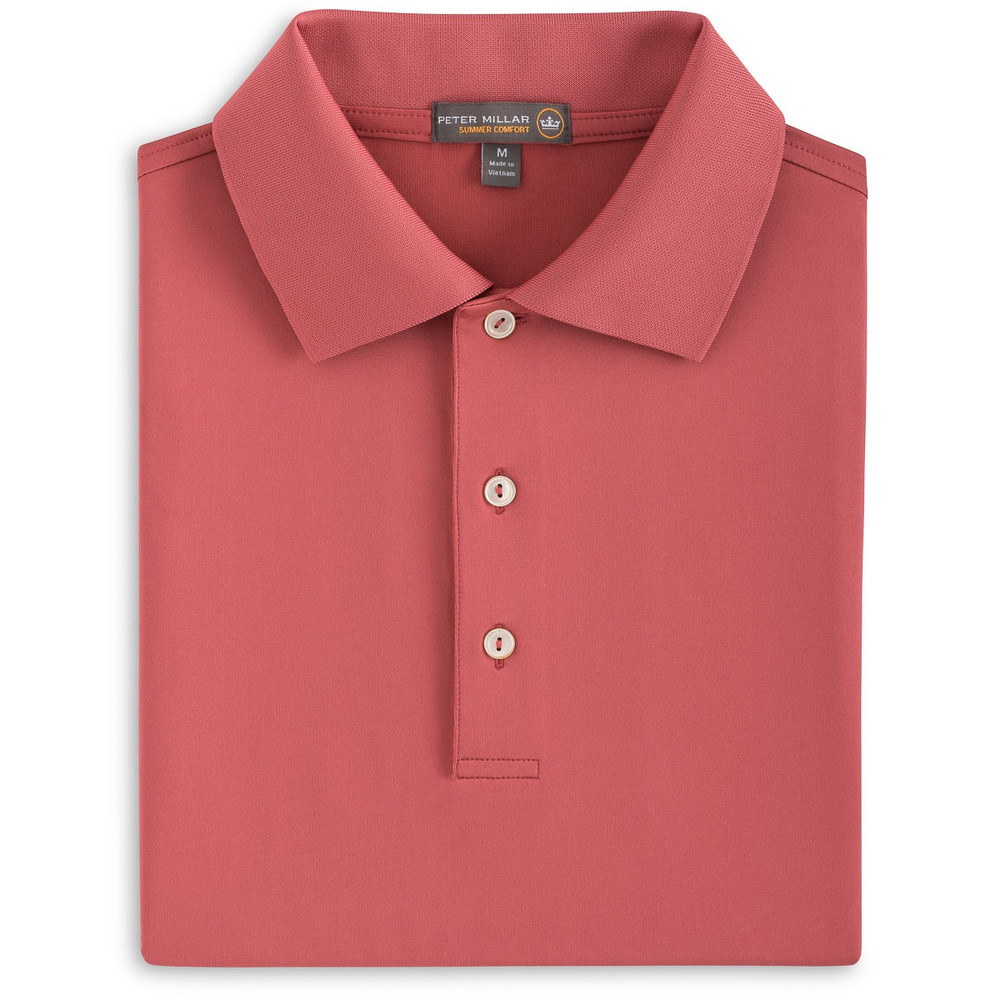 Solid Stretch Jersey 'Crown Sport' Performance Polo with Knit Collar in Cape Red by Peter Millar
