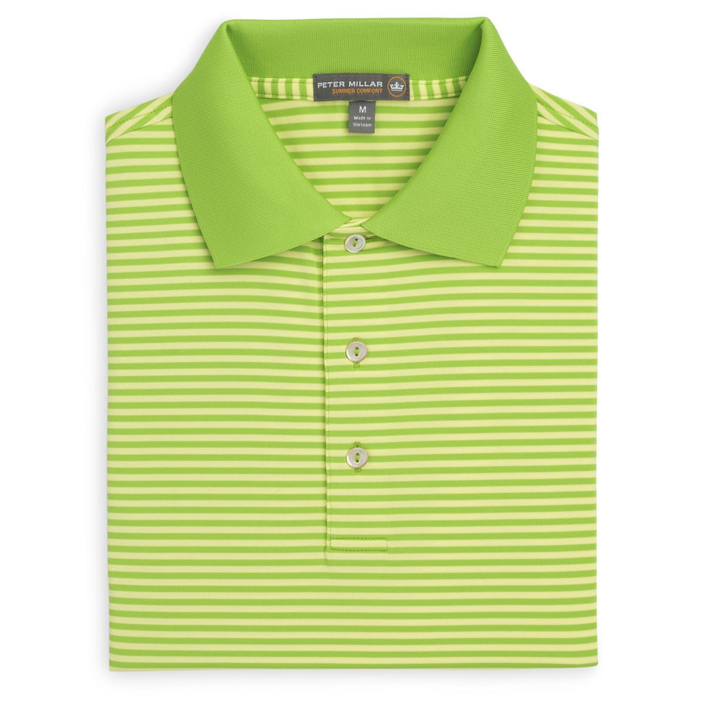 ffce6b881 Competition Stripe Stretch Jersey 'Crown Sport' Performance Polo with Knit  Collar in Pomelo and Sundust by Peter Millar - Hansen's Clothing
