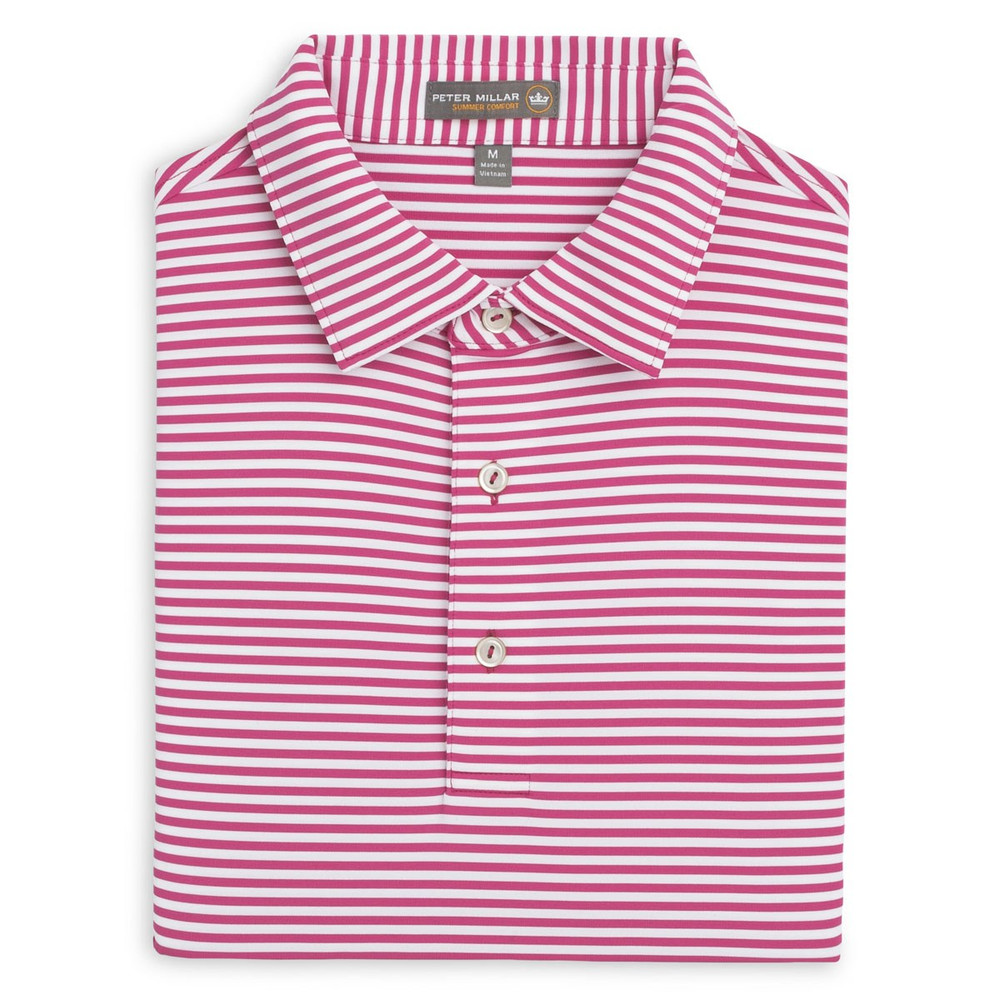 686bf947a43 Competition Stripe Stretch Jersey 'Crown Sport' Performance Polo with Sean Self  Collar in Mambo Pink and White by Peter Millar - Hansen's Clothing